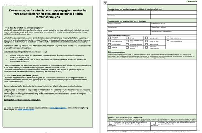 Dokumentasjon utenlandsk arbeidskraft korona